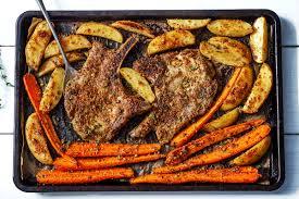 carrots thanksgiving sheet pan pork chops recipe with carrots and maple dijon potatoes