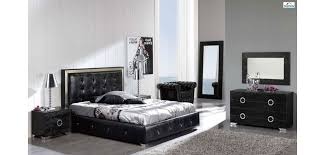 coco modern bedroom set in black leather by esf