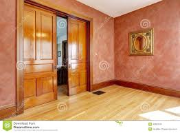 bright red paint for walls empty room in bright red color with slide open door stock photo