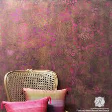 metallic home decor metallic home decor trend using wall stencils paint pattern