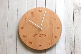 custom personalized wood wall clock modern design name and
