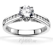 channel engagement ring cathedral channel set engagement ring 1 3 ct t w