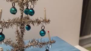 german dollhouse silver tinsel tree aqua ornaments