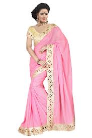 pure georgette lace work saree in light pink colour sarees