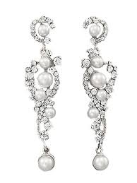 and pearl chandelier earrings white pearl rhinestone silvertone chandelier earrings blue