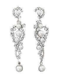 White Chandelier Earrings White Pearl Rhinestone Silvertone Chandelier Earrings Blue