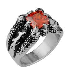 zirconia stone rings images Mens dragon claw red cubic zirconia stone ring jpg