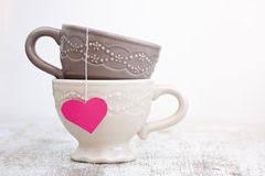 heart shaped tea bags tea bag with heart shaped label stock photos image 12959273