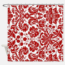 Red White Shower Curtain Red And White Damask Shower Curtains Cafepress