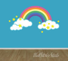 rainbow wall decal reusable fabric decal rainbow with clouds zoom