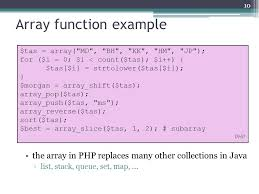 php array map more on php arrays functions and files ppt