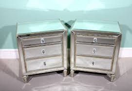 Mirrored Side Table Pair Art Deco Style Mirrored Bedside Tables Chests
