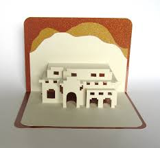 santa fe house pop up 3d card home décor origamic architecture