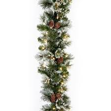 glittery pine pre lit 9 ft garland hayneedle
