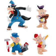 set of all 4 figures big bad wolf and the three pigs bullyland