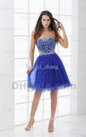 2015 royal blue mini party dresses beaded sequins ruched tulle