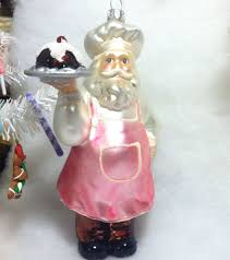 baker santa chef in pink with bundt cake tree ornament