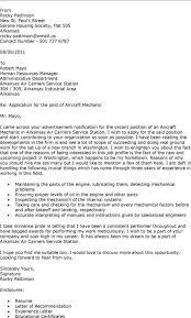 mechanical resume cover letter mechanic