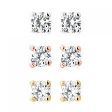 jon richard jon richard set of three cubic zirconia stud earrings