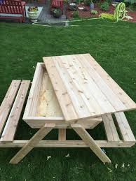 Plans For Picnic Table Bench Combo by How To Build A Kids Picnic Table And Sandbox Combo Picnic Tables