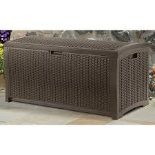 Home Depot Expo Patio Furniture - suncast 99 gallon mocha wicker resin deck box outdoor patio