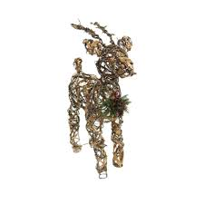 home depot lawn decorations alpine 23 in rattan and berry reindeer decor with 10 led lights