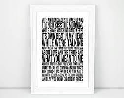 Lay Me Down On A Bed Of Roses Lyrics Bon Jovi Lyrics Etsy