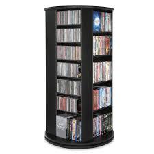 the space saving rotating cd dvd tower hammacher schlemmer