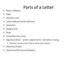 Business Letter Return Address attention line in business letter slide 3 with parts of a return