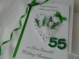 55th wedding anniversary personalised handmade card 55th emerald wedding anniversary 3d