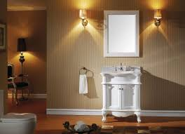 single white wooden vanity with sink on laminate flooring plus