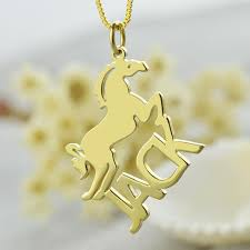 Gold Personalized Name Necklaces Gold Color Horse Necklace With Cut Out Name Necklace Personalized