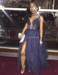 navy blue a line scoop black girls prom dresses illusion lace