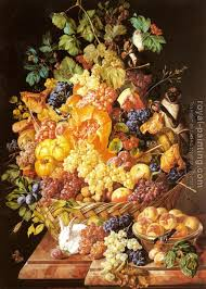 basket of fruit a basket of fruit with animals by leopold zinnogger painting