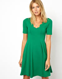 asos skater dress with scallop detail in green lyst