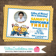 despicable me birthday party personalized photo invitations
