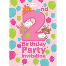 2nd Birthday Invitation Card 2nd Birthday Party Invitations Vertabox Com