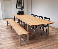 oak trestle dining table industrial based dining tables from recycled steel and iron with