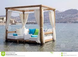 pergola pool white curtains stock vector image 73089376