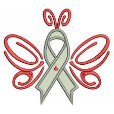 cure diabetes ribbon applique machine embroidery design digitized
