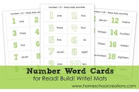 number word printables for read build write mats