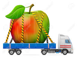 fruit delivery road transportation of apple fruit delivery of big apple with