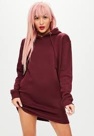 maroon sweater dress burgundy sleeve hooded sweater dress missguided