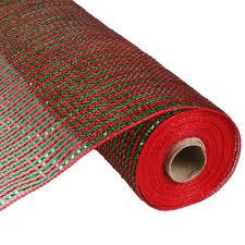 wide ribbon deco poly mesh ribbon emerald wide laser foil 21