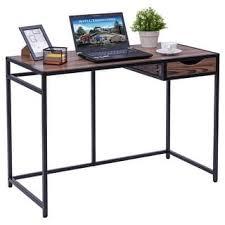 Metal Computer Desks Stella Industrial Black Brown Metal And Wood 46 5 Inch Computer
