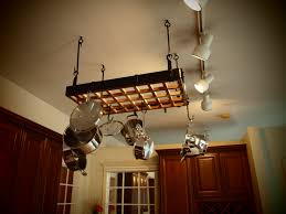 kitchen pots and pan storage pot racks lighted hanging pot rack