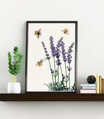 Lavender Home Decor Wall Art Home Decor Bees With Lavender Flowers Art Print Wall