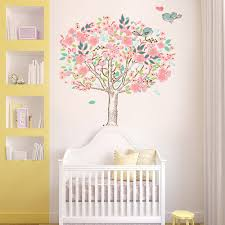 lovely tree wall decal sticker for nursery baby animal full size baby nursery charming girl room decor pink tree wall decal bird