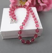 swarovski necklace pink images Swarovski indian pink and sterling silver fully beaded necklace jpg