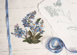 ribbon embroidery flower garden garden party part 1 forget me nots hearty craft